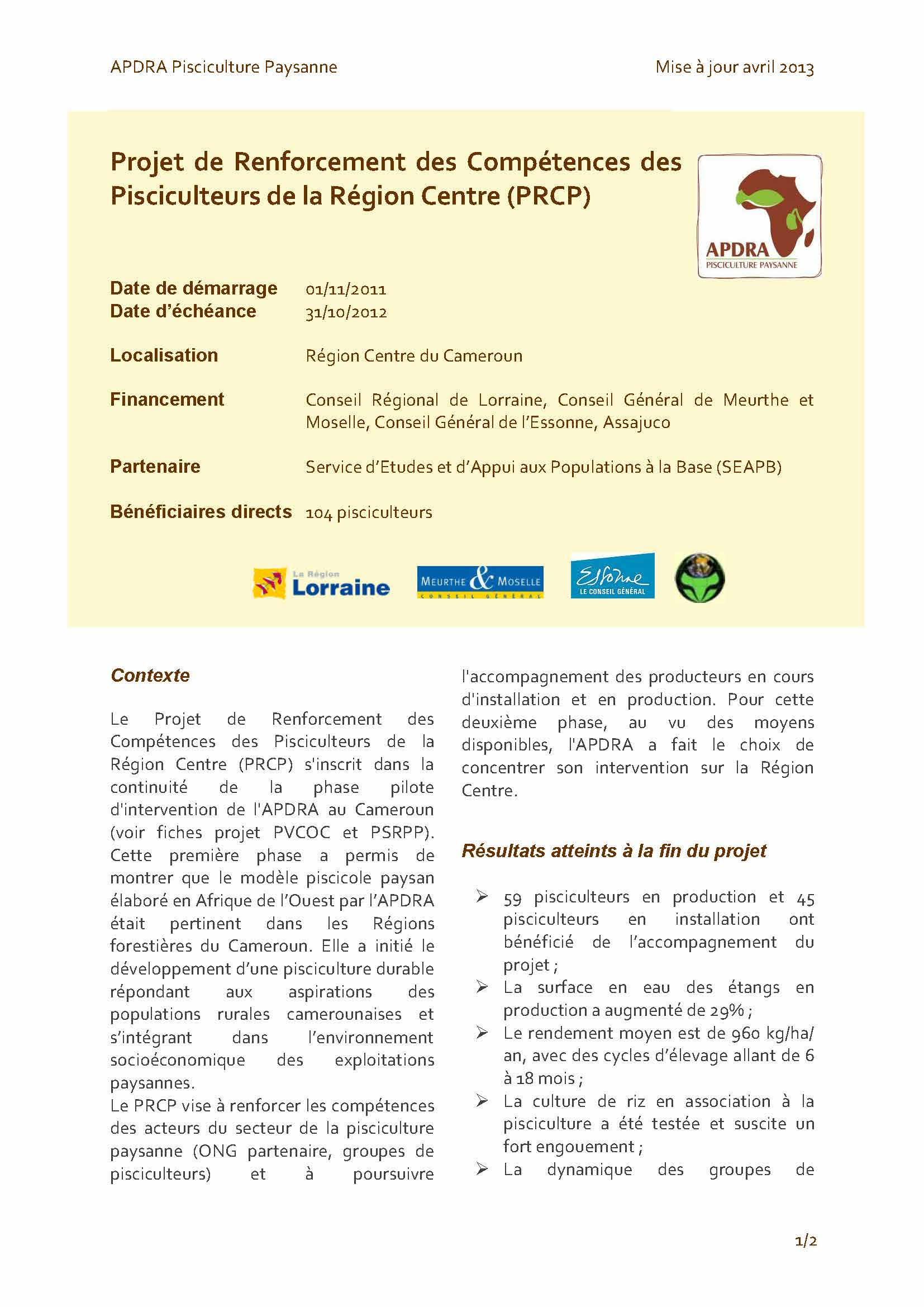 fiche projet PRCP